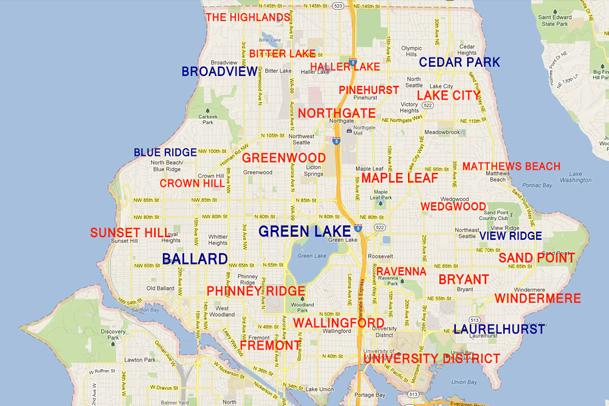 North Seattle Neighborhood Map Board Vellum