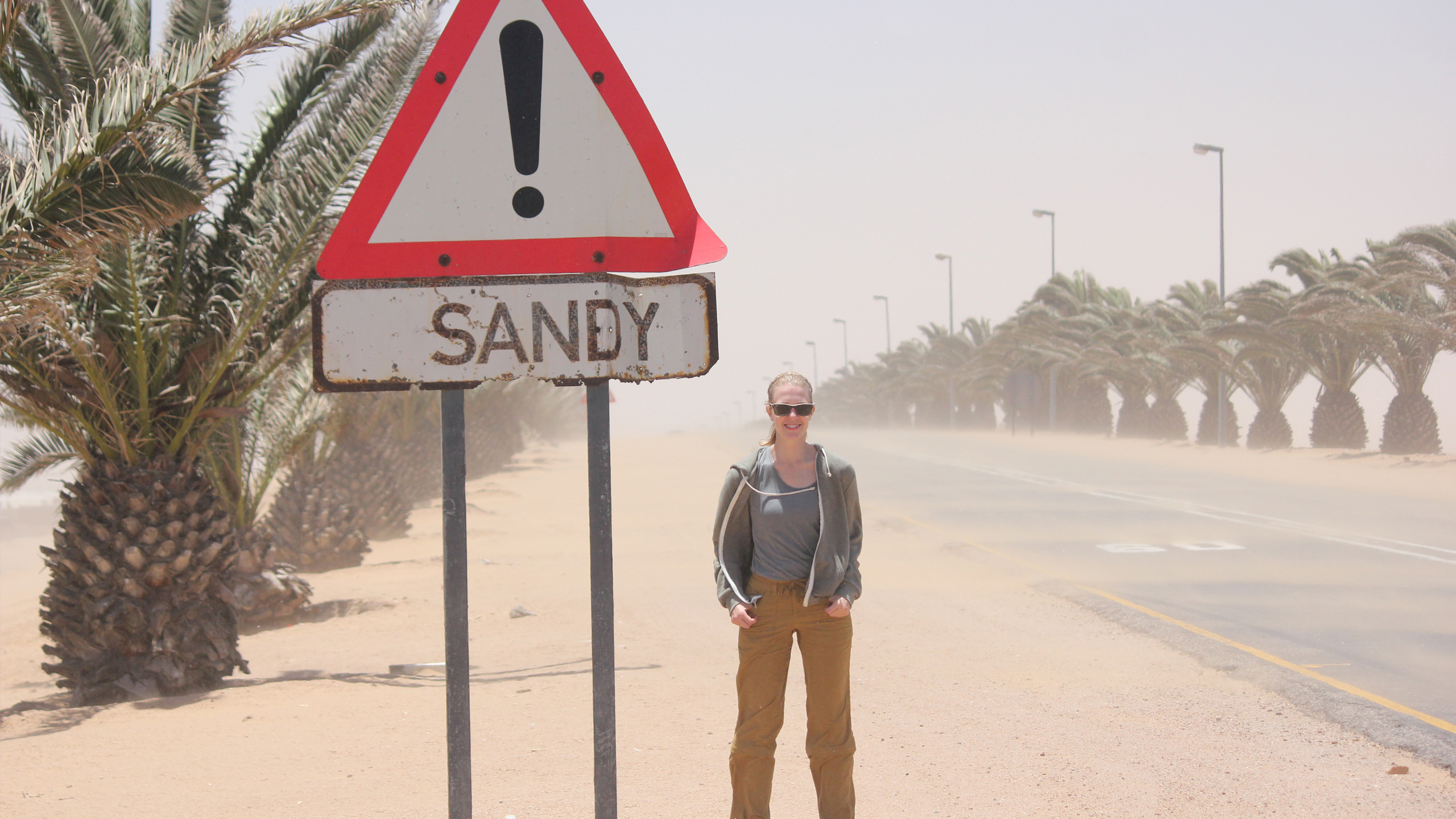 "Introducing, Sandy Wolf! – Sandy poses with a ""Sandy"" sign. – Meet a B&V'er – Board & Vellum"