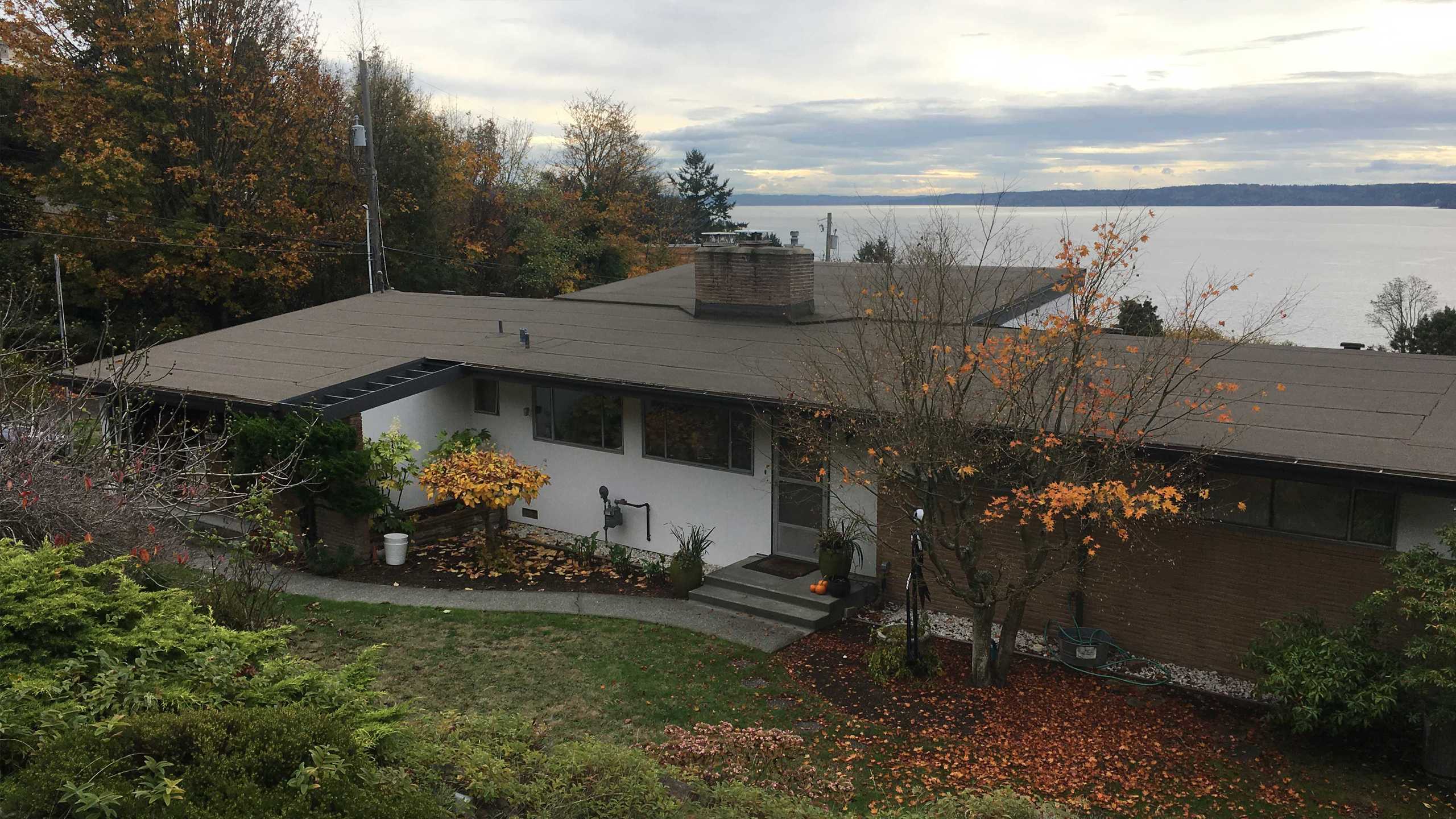 Existing Exterior at the Alki Midcentury Remodel – Board & Vellum