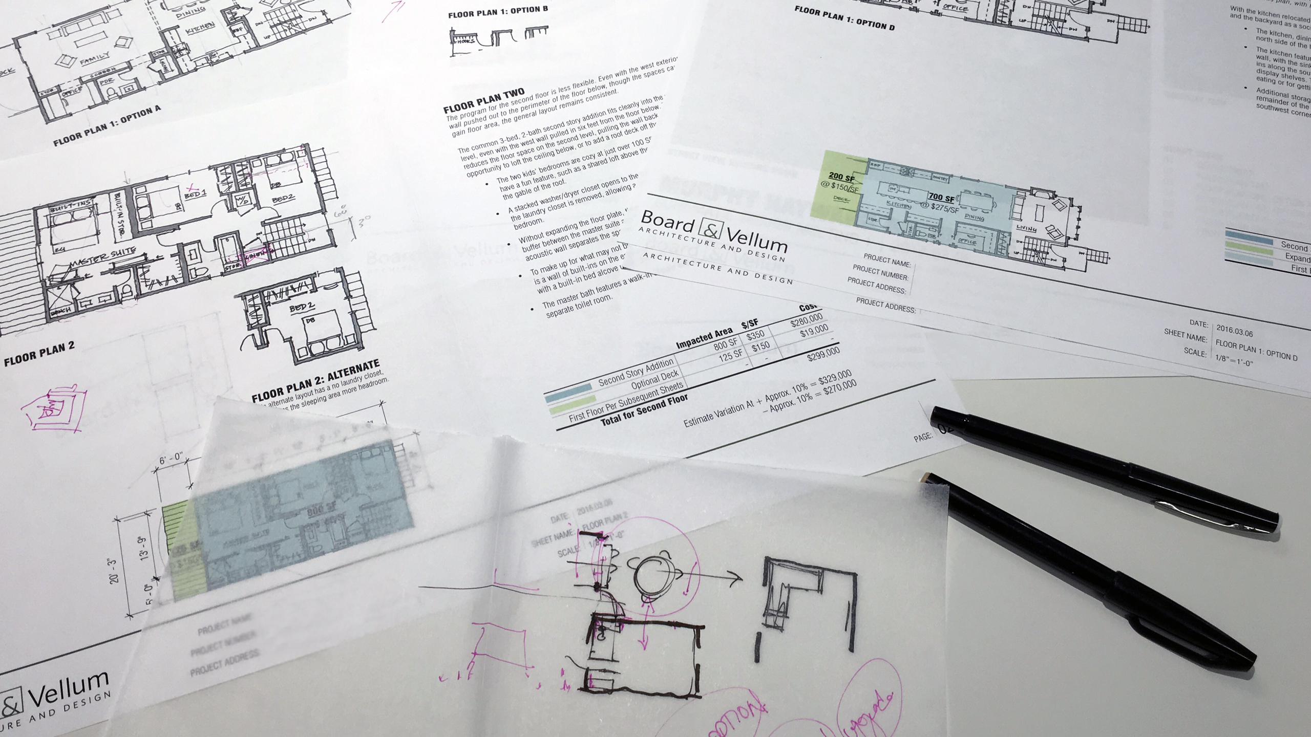 Designing a House Into a Home – Sketching over schematic floor plans at Board & Vellum.