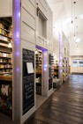 Salvaged doors as room divider. – Ada's Technical Books & Café – Retail Design – Board & Vellum