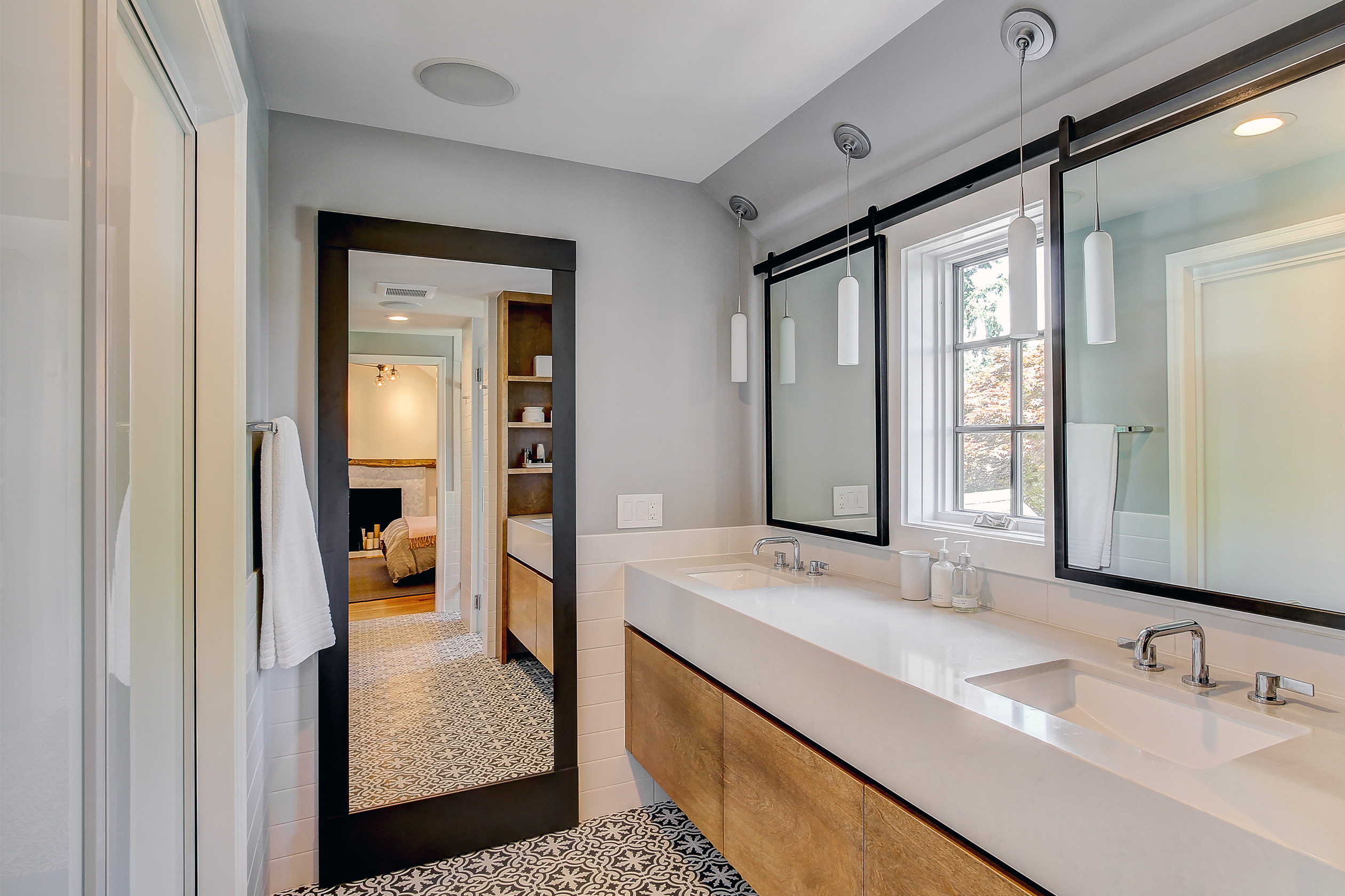 Sliding Mirrors In Front Of Windows The Master Bath Remodel A Tudor