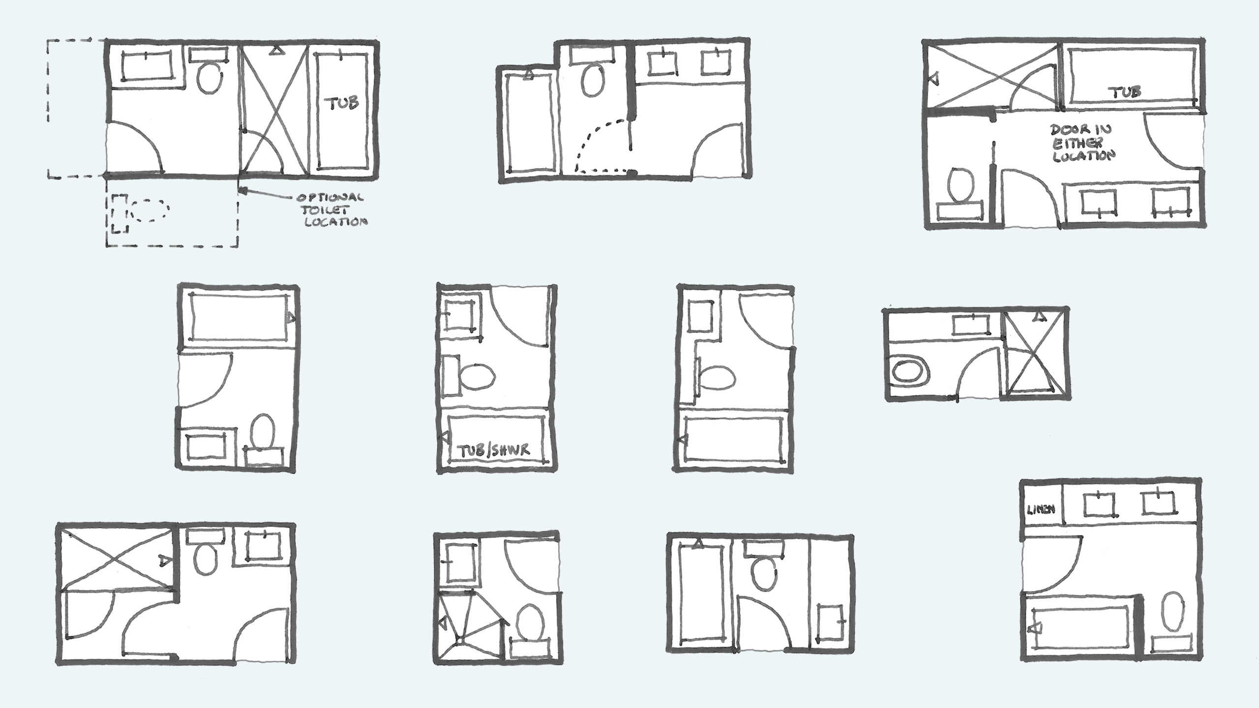 Common Bathroom Floor Plans: Rules of Thumb for Layout – Board