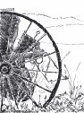 Black and white hand sketch of abandoned farm equipment.